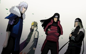 Wallpaper men, naruto, namikaze minato, senju hashirama, cloak, Hokage, art, sarutobi sends the three, senju tobirama, ...