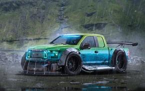 Picture Ford, Car, Rain, Rendering, F-150, by Khyzyl Saleem, RaptorTrax