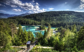 Wallpaper Switzerland, hdr, slope, mountains, trees, lake, Lake Cauma, forest, clouds, Caribbean, lift