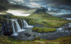 Picture clouds, river, mountain, waterfall, the volcano, Iceland, Kirkjufell