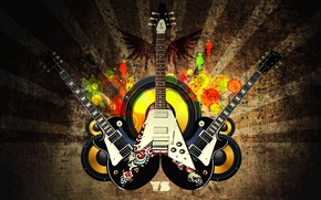Picture guitar, logo, sound