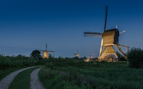 Picture road, Netherlands, the evening, windmill, the sky