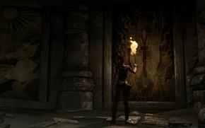 Picture torch, Tomb Raider, ruins, Lara Croft, murals, Damn place