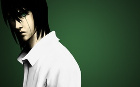 Wallpaper art, shirt, guy, bleach, green background, tesorone, ulquiorra schiffer