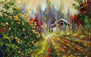 Picture forest, trees, landscape, flowers, nature, house, plants, picture, painting, the bushes, farm, Khodukov, spatula