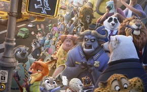 Picture cinema, Disney, bear, horns, fox, rhino, tiger, jaguar, police, rabbit, lion, cartoon, movie, giraffe, bull, …