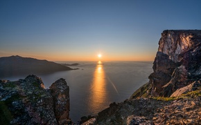 Picture sea, the sky, the sun, sunset, mountains, rocks
