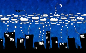Wallpaper the city, Clouds, humor