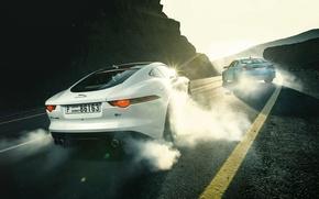 Picture Jaguar, BMW, Cars, Sports, Smoke, Rear, F-Type R, Drifting