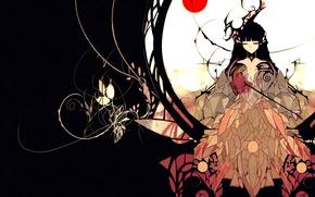 Picture girl, birds, art, Anime, Anime, NanoMortis, Lost Reason