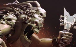 Picture wire, skull, guitar, monster, head, art, electricity, sparks, mouth, fangs, charge