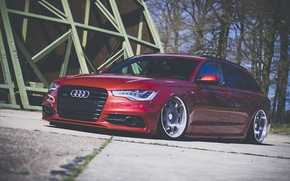 Picture Audi, red, wagon, stance, before