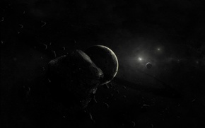 Picture planet, Black, asteroids