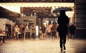 Wallpaper back, raining, Chicago, people, girl, sidewalk, United States, Illinois, umbrella, cityscape, urban scene, street