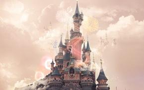 Picture Disney, pink, clouds, castle, Disneyland