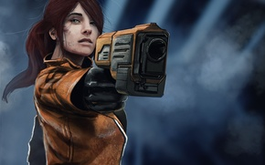 Picture girl, fiction, art, sci-fi. weapons
