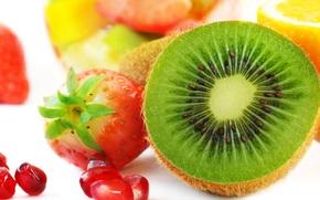 Picture lemon, kiwi, strawberry, lemon, fruit, strawberry, garnet, kiwi, pomegranate, Fruits