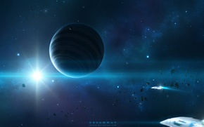 Picture space, star, art, space, art, spaceships, planet, starlight, planet