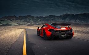 Picture McLaren, Orange, Front, Death, Sand, Road, Supercar, Valley, Spoiler, Hypercar, Exotic, Rear, Volcano, Extra, Terrestrial