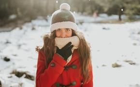 Wallpaper girl, coat, winter, face, hat, Miriam