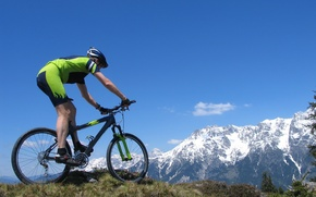 Picture landscape, mountains, nature, bike, cyclist, guy