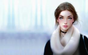 Picture winter, girl, portrait, art