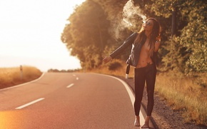 Picture road, girl, smoke