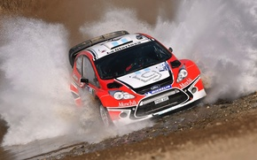 Picture Ford, Water, Red, Auto, Sport, Machine, Speed, Race, Squirt, WRC, the front, Rally, Fiesta