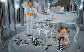 Picture children, girls, keys, piano