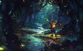 Picture forest, fireflies, art, John Paul Bragato