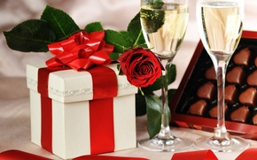Wallpaper Holiday, box, gift, chocolate, candy, tape, hearts, rose, Valentine's Day, glasses, Birthday, champagne
