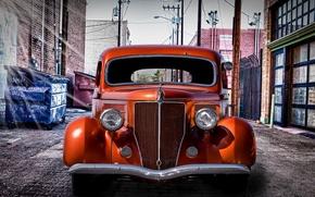 Picture retro, yard, car, sedan, classic, the front, classic car