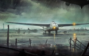 Picture the wreckage, lights, the plane, rain, overcast, art, airport