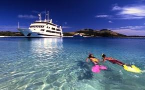 Picture the ocean, shore, sport, yachts, Laguna, fiji, snorkelling