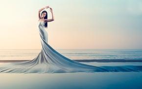 Picture girl, shore, dress, genesis