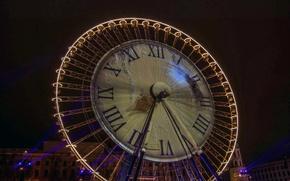 Picture night, lights, France, Ferris wheel, Lyon