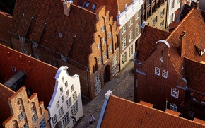 Picture roof, street, home, Germany, Lubeck, tile, Schleswig-Holstein