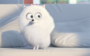 Picture adventure, movie, white, animal, drawing, pad, official wallpaper, film, cinema, couch, big eyes, family, puppy, ...