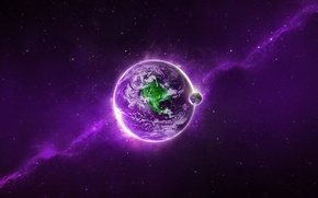 Picture light, planet, violet, Sci FI