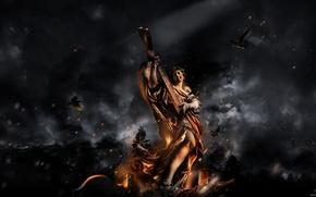 Wallpaper statue, birds, ash, fire