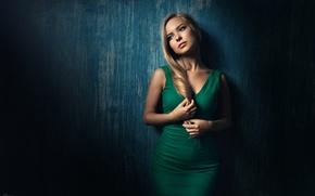 Picture girl, wall, portrait, figure, dress, blonde, beautiful, green, long-haired, George Chernyadev, Victoria Pichurova