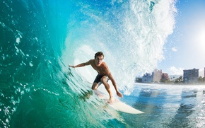 Picture sea, foam, the city, reflection, wave, home, surfing, Board, guy