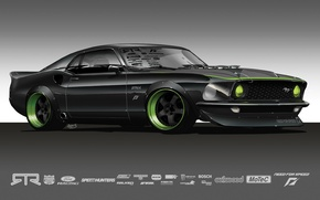 Wallpaper grey, Mustang, the concept