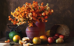 Wallpaper flowers, bouquet, pear, avocado, apples, tangerines