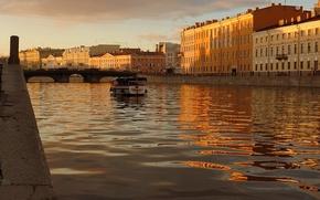 Wallpaper water, sunset, Peter, boat, Saint Petersburg, channel