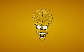 Wallpaper head, minimalism, skeleton, alien, orange background, skull, alien, Mars Attacks, Mars attacks, brains, Martian