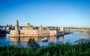 Picture river, France, home, yachts, boats, channel, fortress, boats, Marseille, Fort Saint-Jean