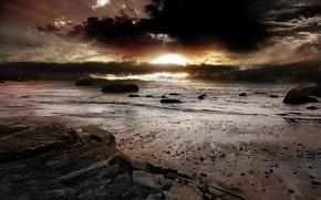 Wallpaper sea, sunrise, rocks, sand