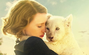 Picture cinema, girl, lion, movie, film, Poland, World War II, womam, Jessica Chastain, Second World War, ...