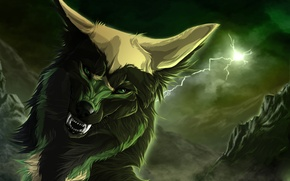 Picture lightning, wolf, fangs, art, wolfroad